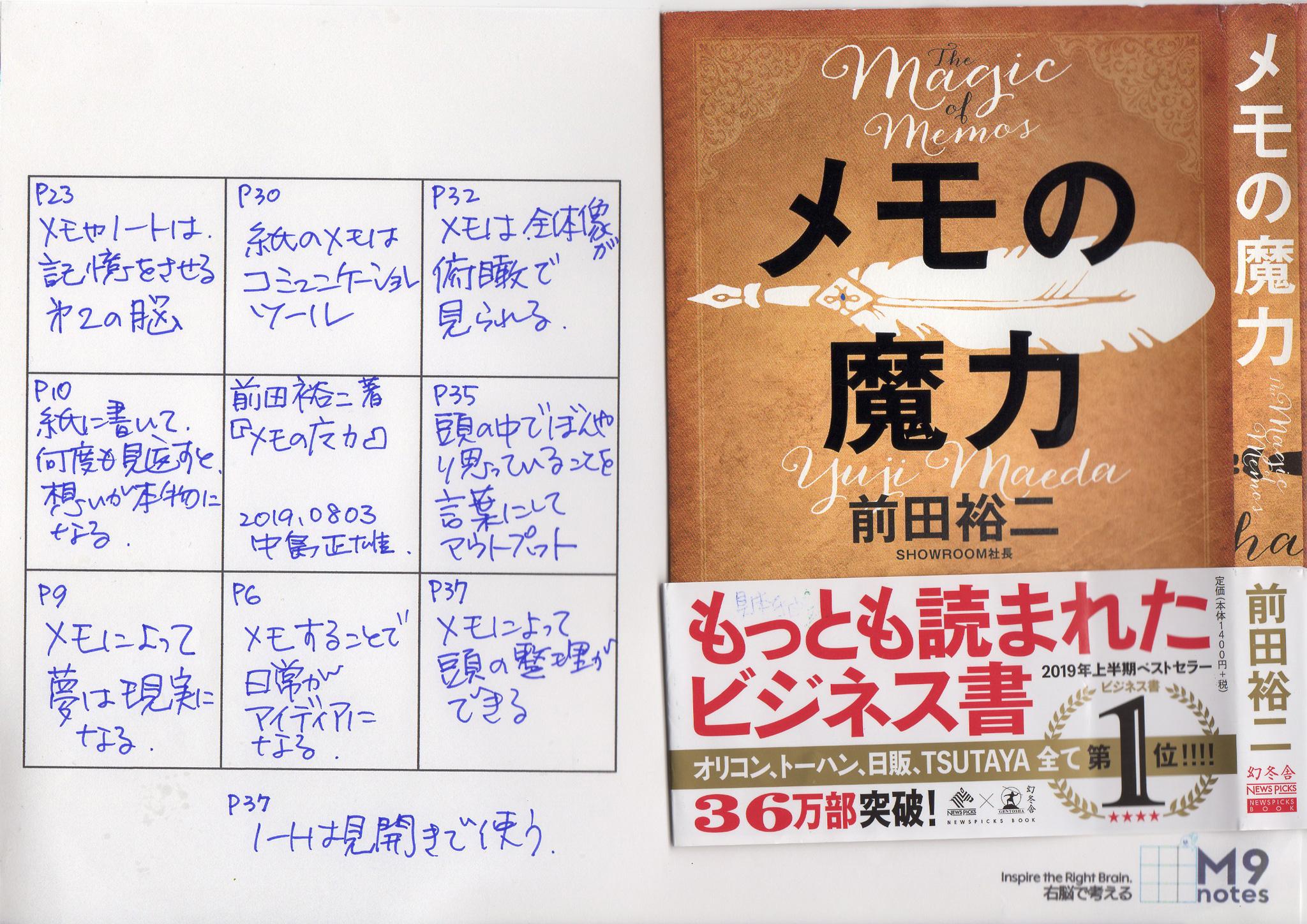 『メモの魔力』を読んで。中島正雄