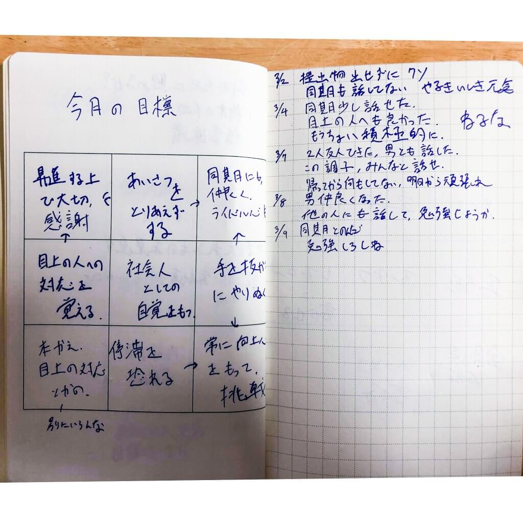 M9notes身近な記入事例:今月の目標