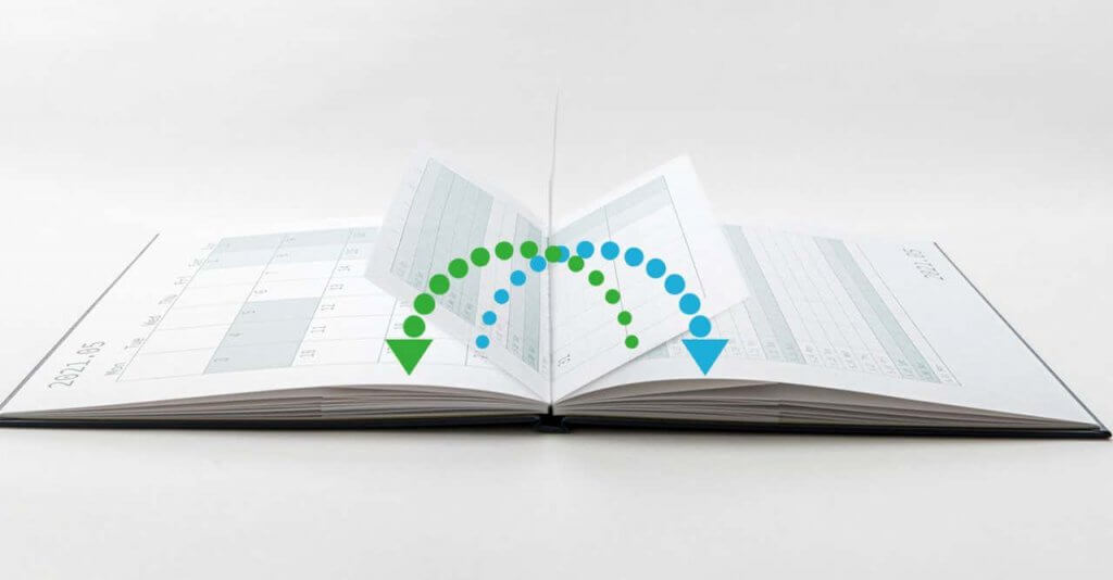 見開きで月間と1日の詳細をスケジューリングできます これまでにないユニークなページ設計です スムーズに、快適に、アイデアを止めるとなくスケジューリングできます