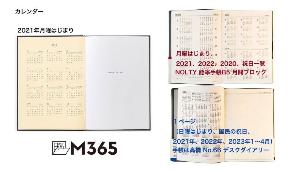 一般的な手帳と比較しました。カレンダー