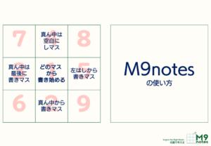 M9notesの使い方 どのマスから書き始めるかで使用方法を4パターンに分けました