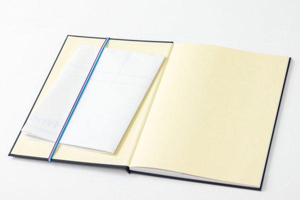 A1サイズのM9notesZを折って、B5版の手帳に挟んで携帯しているところ