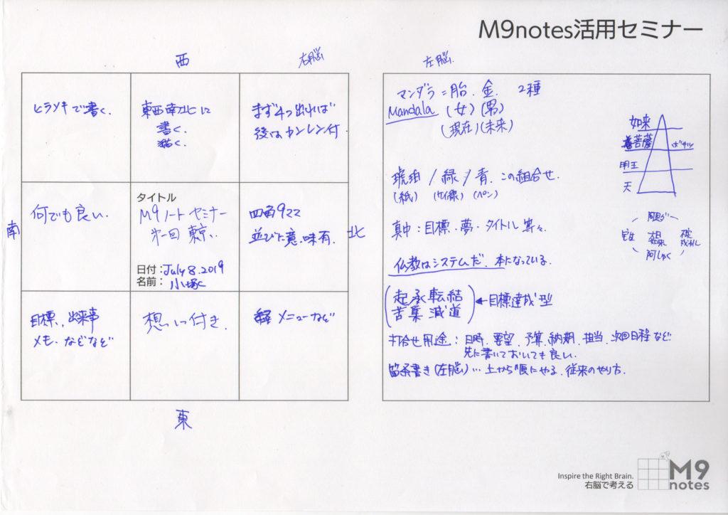 M9notes活用セミナーの感想文(小塚さま)
